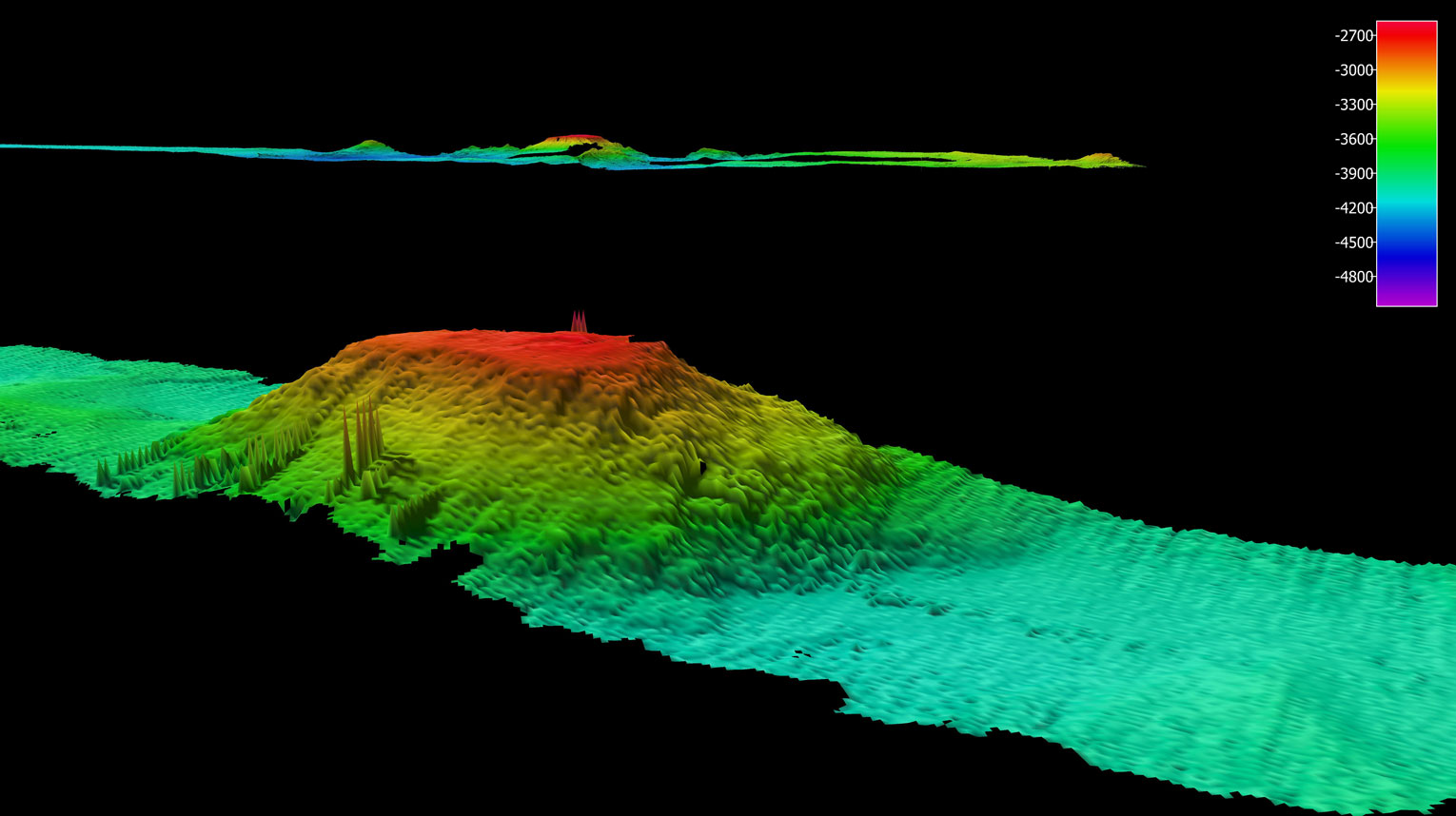 Another guyot. In the distance the guyot we traversed earlier this week, can be seen 140 km away from this one which we crossed yesterday, This one is about 16 km across and forms part of a NNE trending seamount chain visible in the satellite bathymetry.