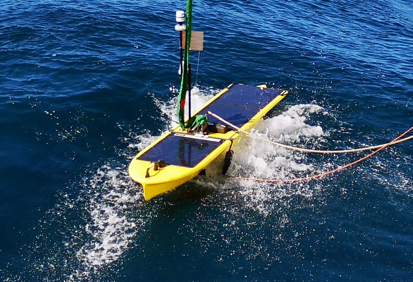 The Wave Glider- allows the ship to travel further away from Sentry to work (photo- Jürgen Koepke)