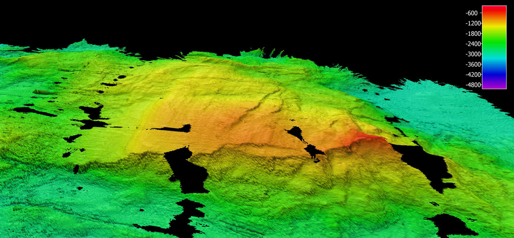 Table Mountain Core Complex rising to just 500m below sea level. The red area has a flat, wave-cut, top which was once near sea level. Field of view is about 20 km across.