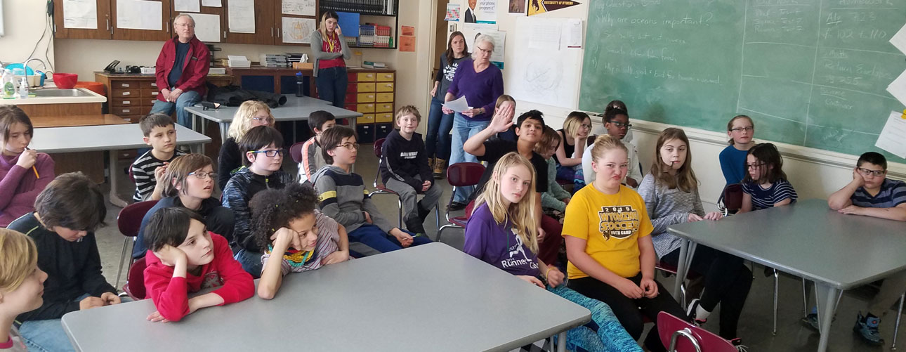 5th graders at the UW lab school listening to a broadcast