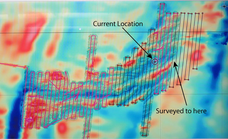 Where are we now? The completed survey as of today. In the background is the bathymetry collected during our expedition and the bathymetry as derived from satellite gravity.
