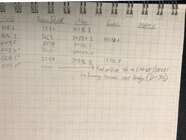 The end of the survey marked in the log book.