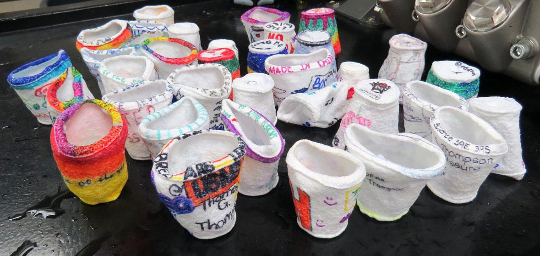 Shrunken cups from Sacred Heart