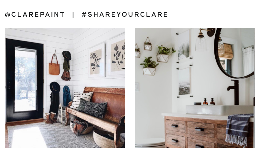 Brand Hashtag, Clare Paint - The hashtag #shareyourclare was written to encourage customers to post their experiences with the brand to increase reach.