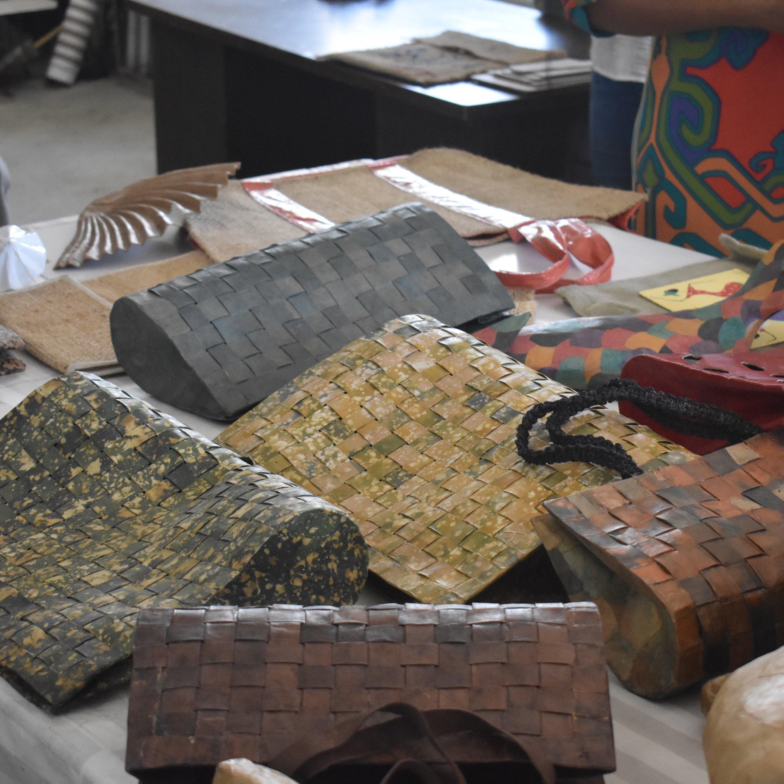 Paper mache bags made for Urban Zen of Dona Karan