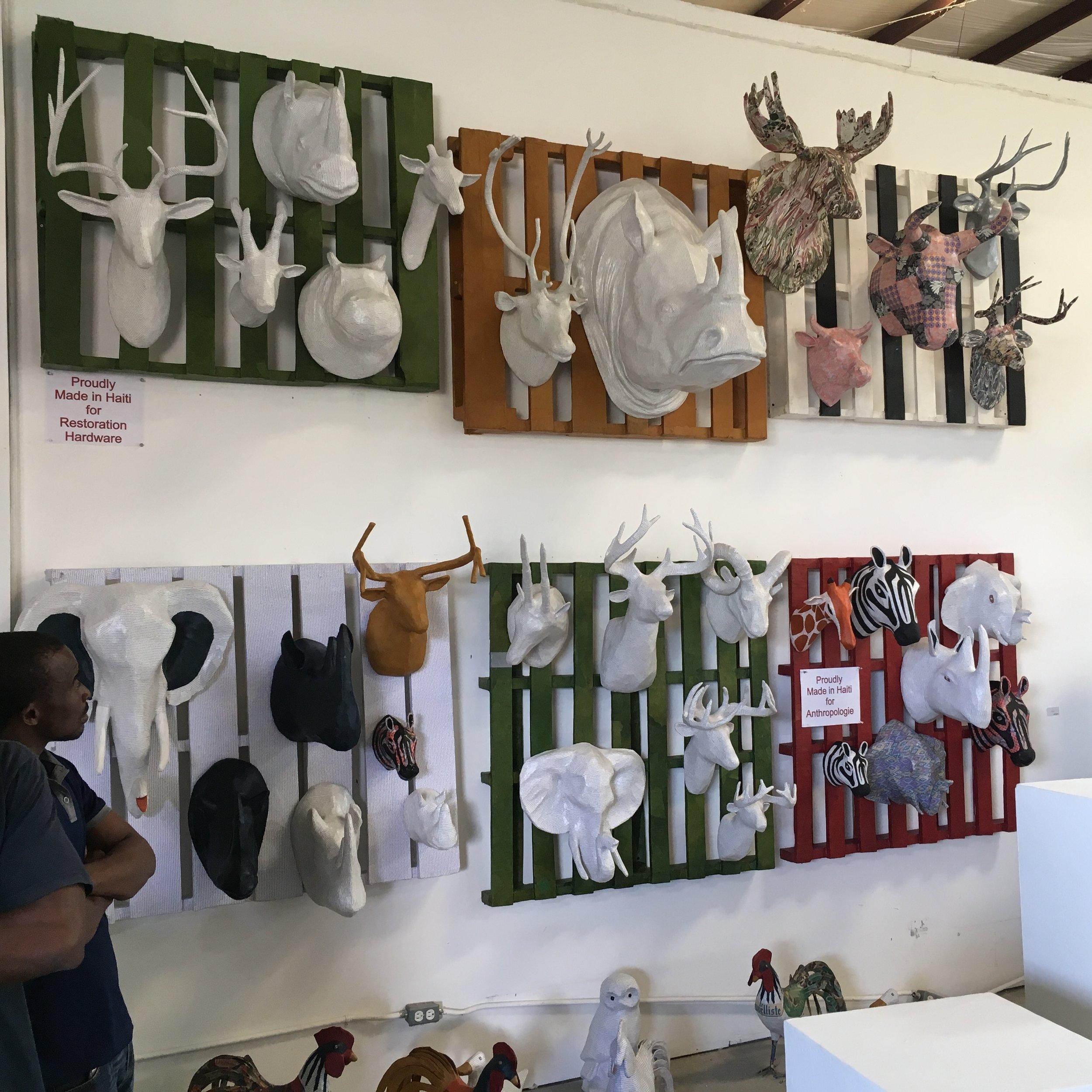 Paper mache exposition for the visit of Conan O'Brien in Haiti
