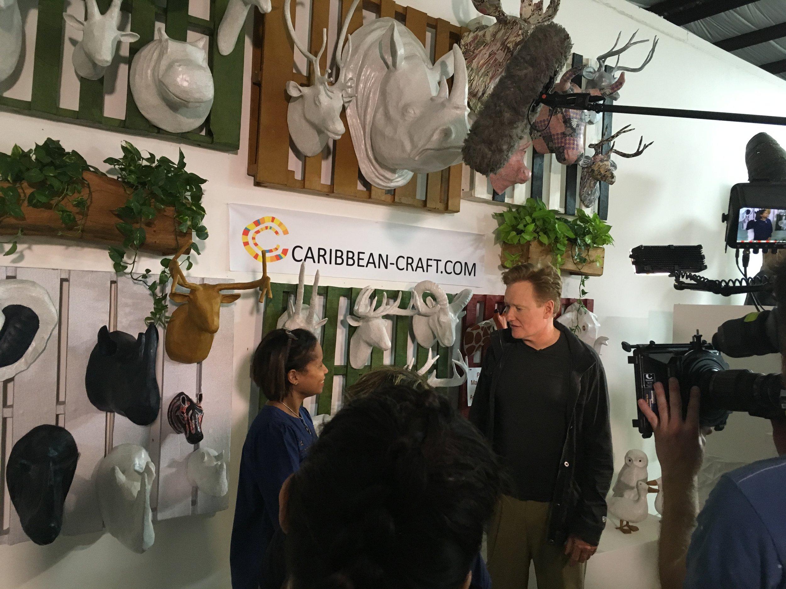 Conan O'Brien interviewing Magalie Noel Dresse