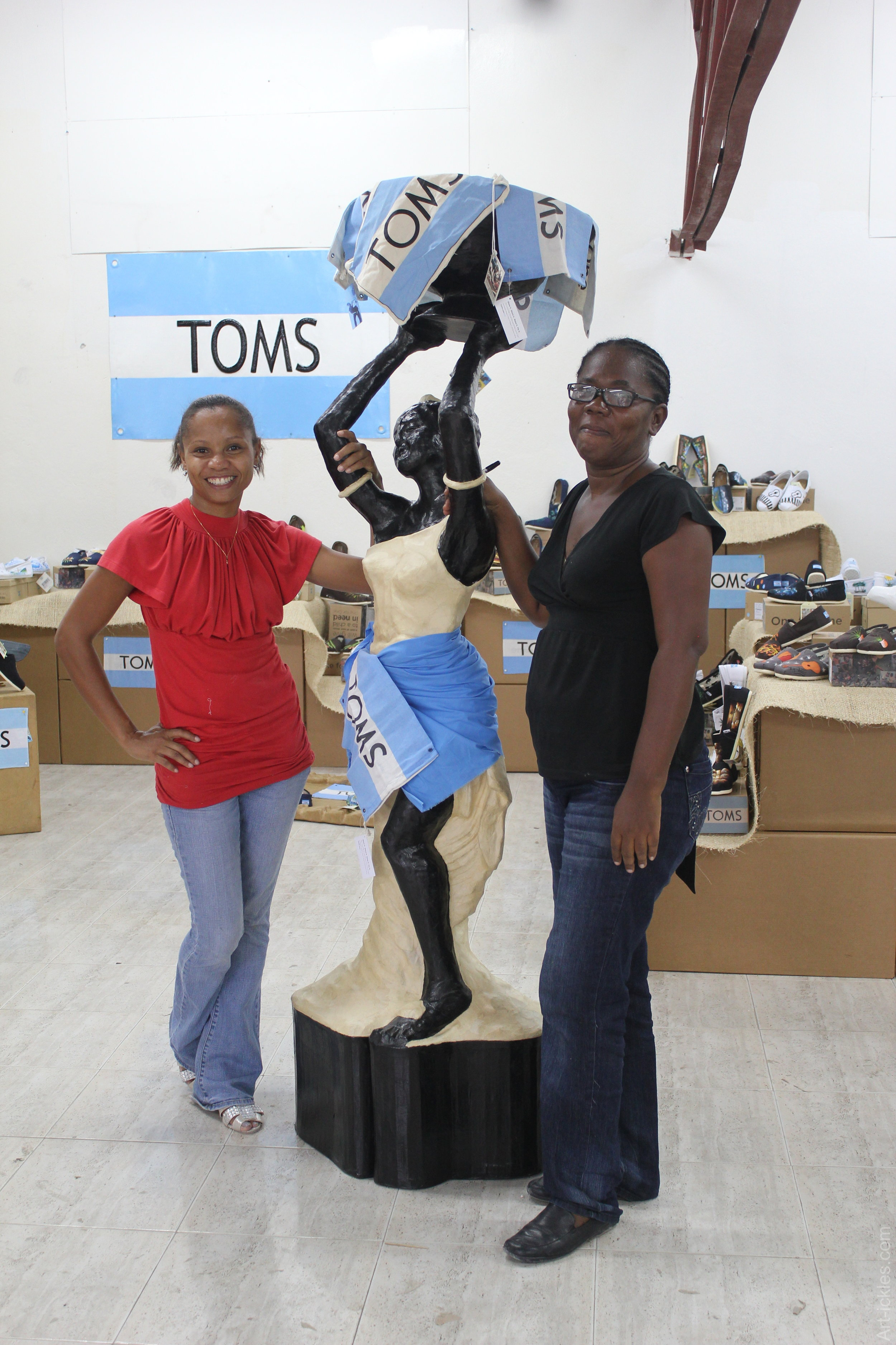 Marie Cella and Magalie at the TOMS display