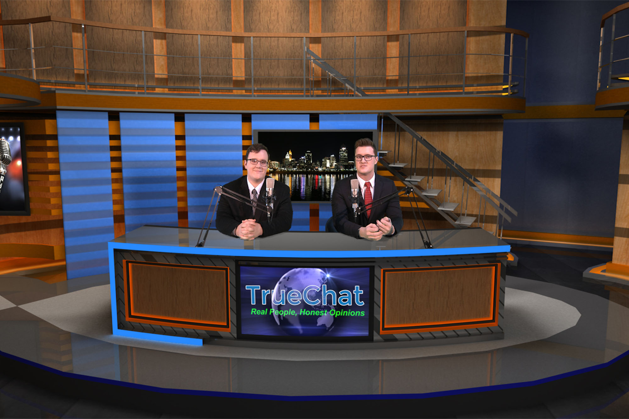 Justin T. Weller, right, on a broadcast with Camden Pierce, on left, at TrueChat.