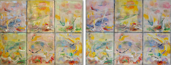 Warm Beginnings, 11″ x 14″, (two views) inteference paint mixed media on cradled