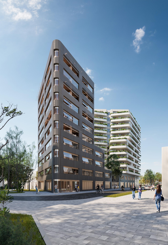 Concours - Notre proposition pour le concours de  résidence étudiante, de 76 chambres, 75 logements sociaux et une bibliothèque  à Paris, avec  Nunc Architectes  pour Elogie Siemp Septembre 2019