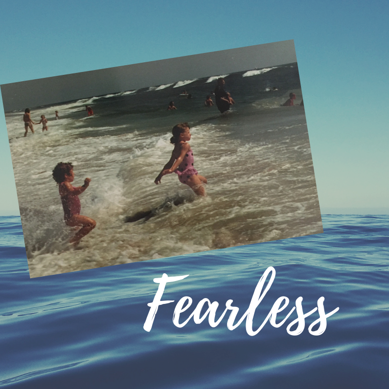 - That's me in the front, running straight into the oncoming waves, before I learned to be scared of getting knocked down.