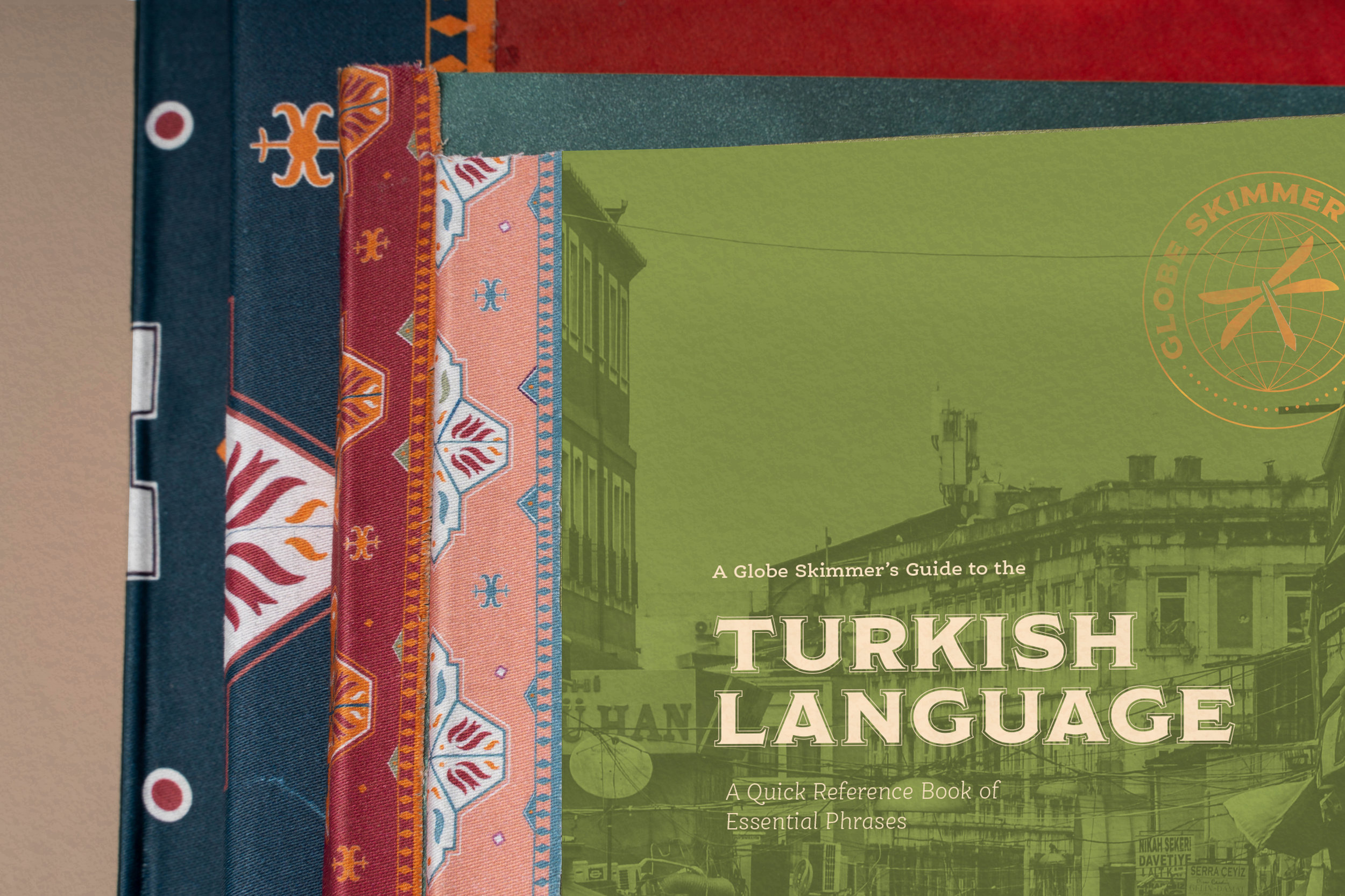 I illustrated the book-cloth on the spines of the books to emulate traditional Anatolian rug patterns.
