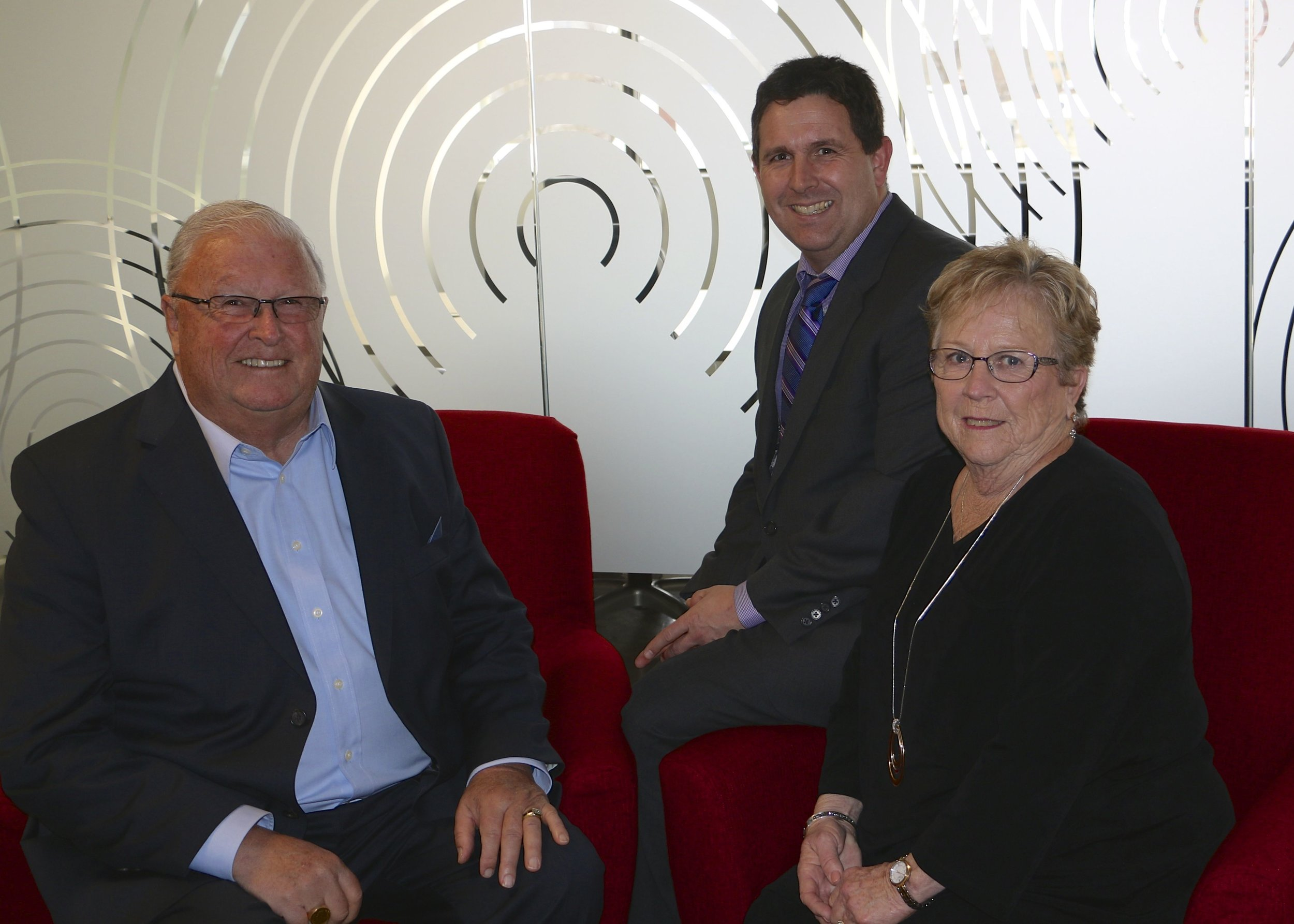 Brad French, President, with previous owners Jack & Marie French