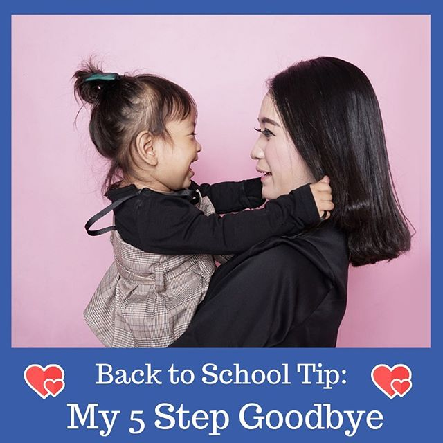 """💙💚 My 5 Step Goodbye ❤️💛 it's on the blog (link in bio) or read below. Happy Back to School everyone! 💙 As a preschool teacher and a mom I've observed many school drop-offs. Some easy, some hard, some tearful, some excited, and everything in between. Here are my 5 steps for saying goodbye that will ease separation anxiety and boost confidence. 💚 First things first, I want you to leave your worries at home. Your child can sense your unease, so before you get in the car to head to school, walk to the bus stop, or prepare for carpool pickup, take some deep breaths, collect yourself, and put on your best poker face if you're feeling anxious. If you are a nervous wreck, fake it til you make it. That's honestly the best advice I've ever gotten and it's useful for just about every life experience. Now, onto the actual goodbye… ❤️ 1. Help your child put his or her things away.• 2. Scan the room for a friend, a fun activity your child might enjoy, or find the teacher if you need to do a hand off. • 3. Give a big hug and kiss. Do a special handshake or high five. Whatever you guys like to do.• 4. Make eye contact and lovingly and confidently say, """"I love you. I'll be back at pick up time. I always come back. Bye bye!"""" (or indicate who will be picking up so your child and the teachers know)• 5. Walk straight out the door. Do not look back. Do not linger. GO. 💛 Please, oh please, do not sneak out. It is very scary for a child. I know it might seem easier to engage them in play and then slowly back out of the room, but it will create or prolong separation anxiety. It's okay for your child to cry when you leave. Partner with his/her teacher and make a strong plan. Follow the steps above. You can do it! 💙 #takeabreaktots #backtoschool #socialemotionallearning #parentingtips"""