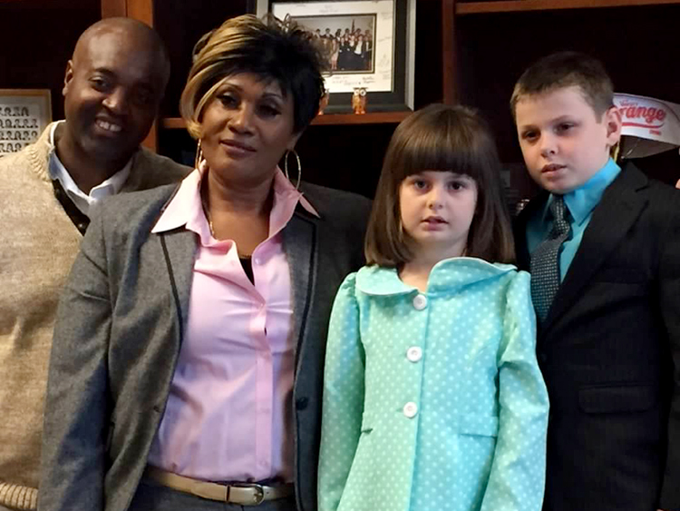 Foster family and adopted children