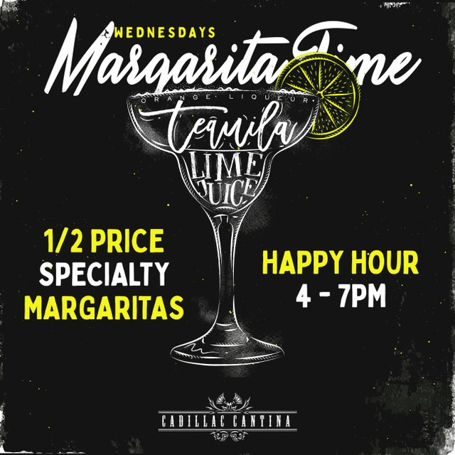 The FRESHEST Margaritas for our weekly Margarita Time! Happy Hour ⬇️ Happy Hour Monday-Friday 4pm-7pm (All night Mondays): DOLLAR BEERS 1⁄2 Priced Appetizers 1/2 Priced Margaritas . #letstacoboutit #cadillaccantina http://www.cadillaccantina.net . #drinkspecials #margaritas #mixology #taco #downtownhoboken #hobokeneats #tequilatequila #halfprice #humpday #wednesday
