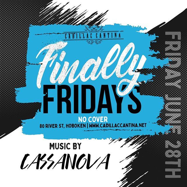 Lock in the beat tonight with Cassanova 🎧 Eata-Fajita and dance with the crew 🎶 . Fajita Friday 4pm-11pm Guacamole Chicken or Steak Fajitas Draft Beer or Glass of Sangria ALL for $16-Prix Fix  Happy Hour Monday-Friday 4pm-7pm (All night Mondays): DOLLAR BEERS 1⁄2 Priced Appetizers 1/2 Priced Margaritas  8pm to close $4 tequila of the week shot. . #hoboken #cadillaccantinahoboken #cadillaccantina #taco #tacos #eeeeeats #margarita #weekend #finallyfriday #margaritas #happyhour #cocktail #cocktails