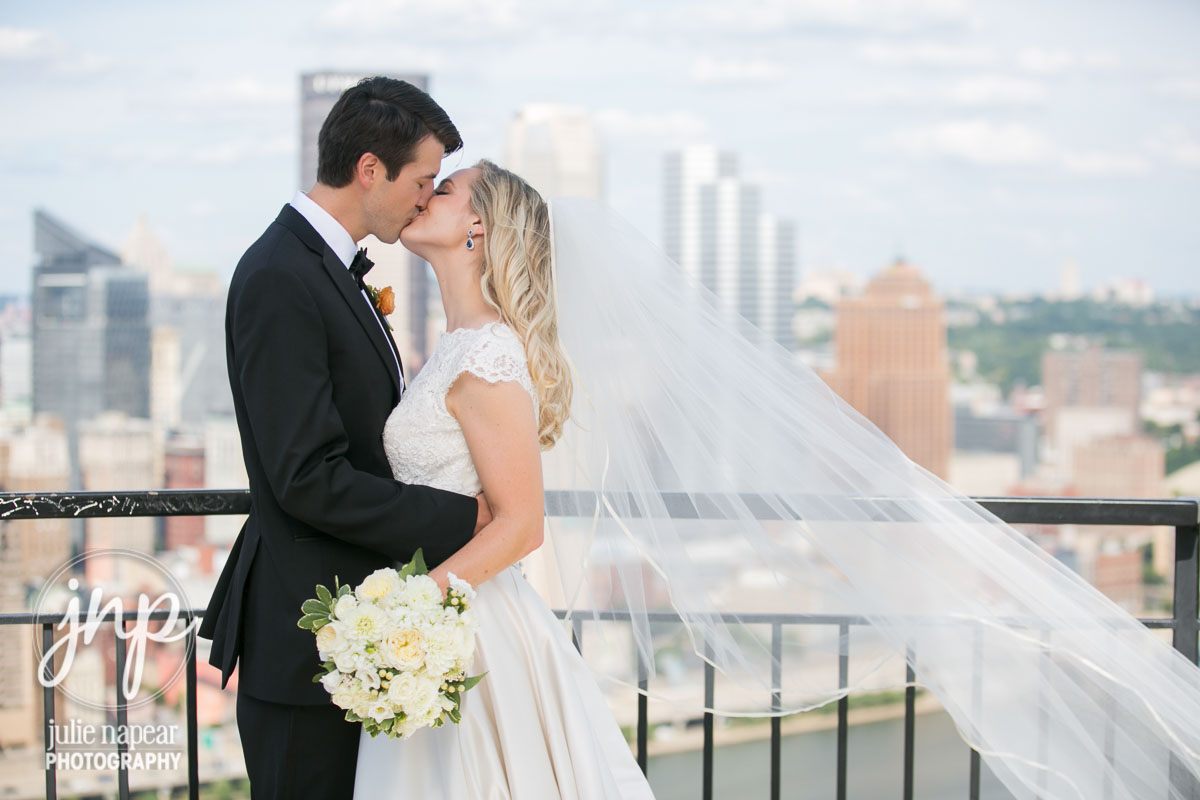 downtown pittsburgh wedding white bouquet dahlia rose