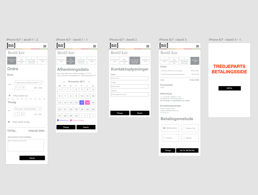 Wireframing the mobile check-out flow