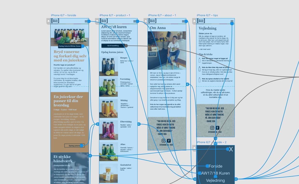 Interactive mockup prototype of mobile site