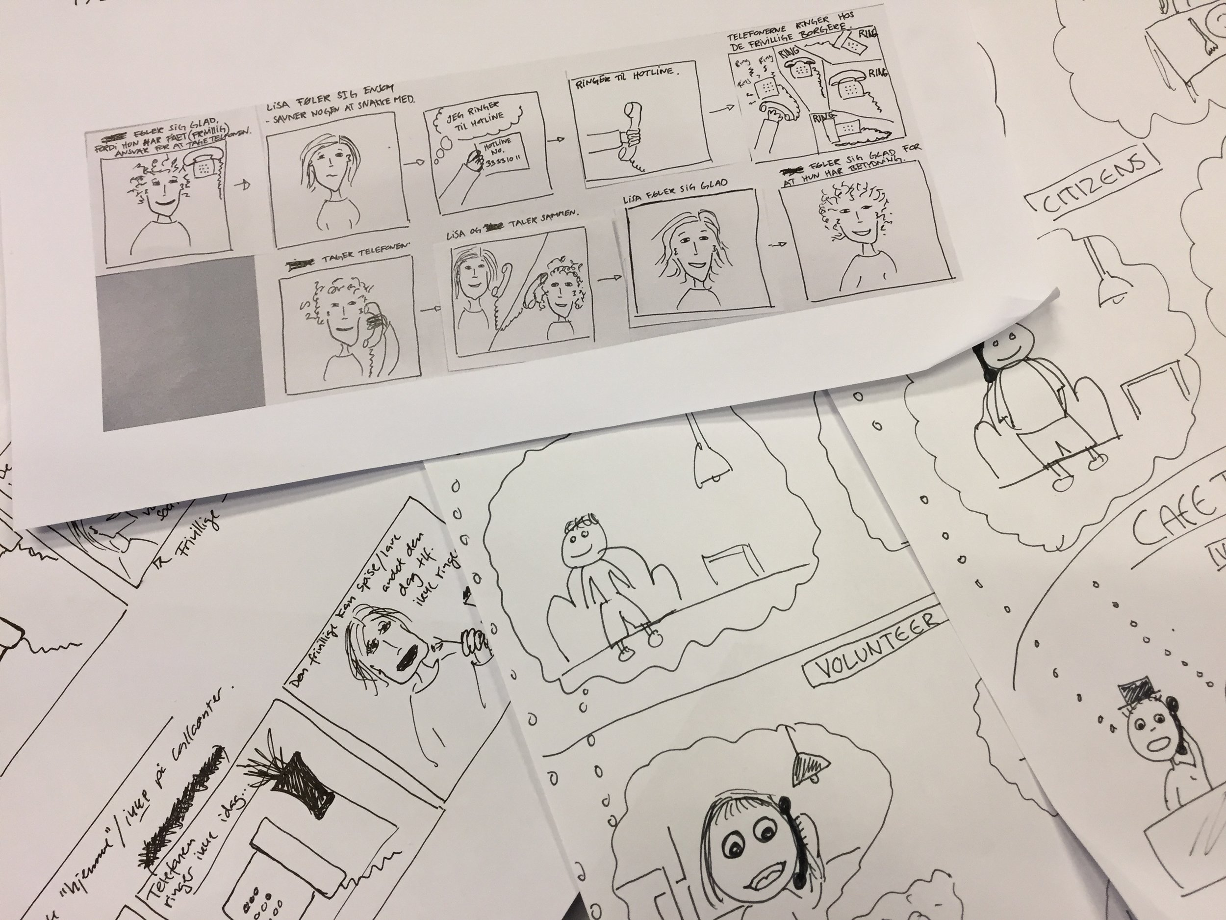 Sketching visual scenarios to be discussed with users and stakeholders.