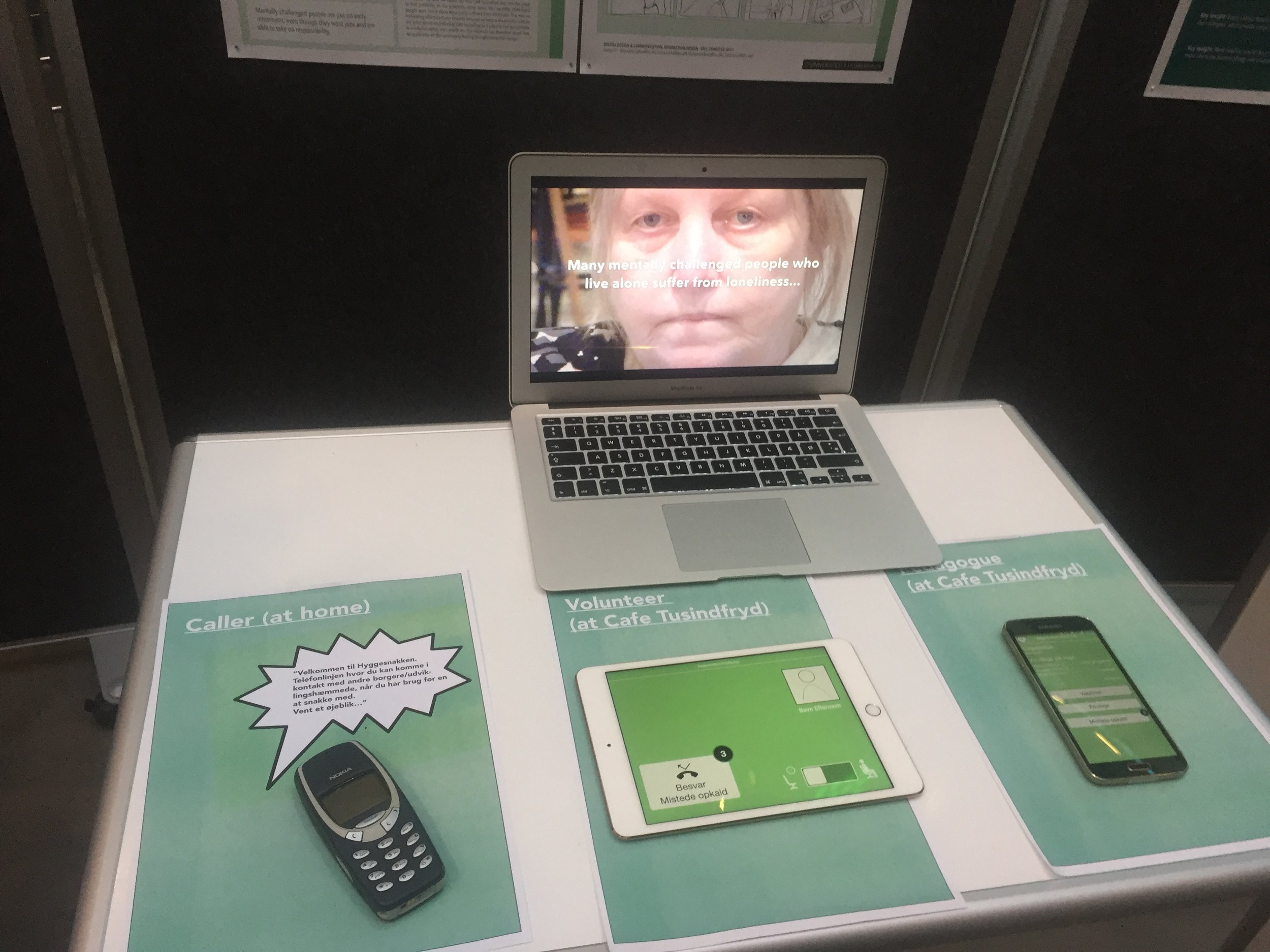 The collective set of prototypes. A traditional telephone was chosen as the primary touchpoint, as this is the technology most citizens are comfortable using on their own.
