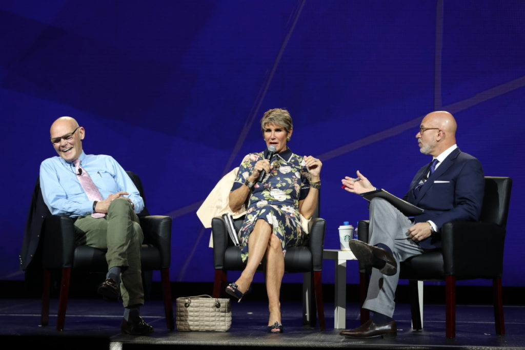 Michael moderating MANOVA panel with James Carville And Mary Matalin; Minneapolis, MN (October 2018)
