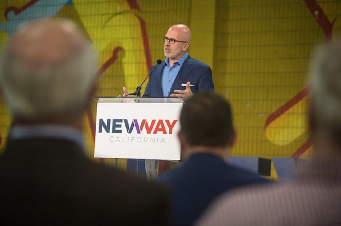 Michael delivering keynote at New Way California launch event March 21, 2018