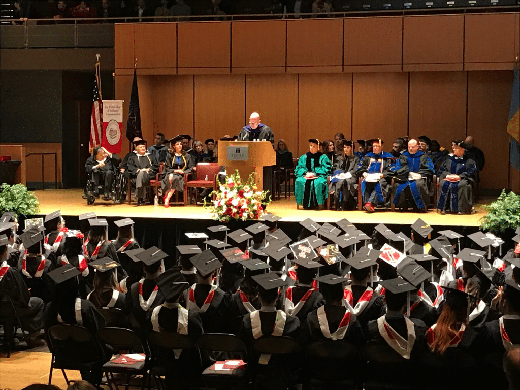 Michael delivers the commencement speech at Temple University's Klein College of Media and Communication (December 2017)