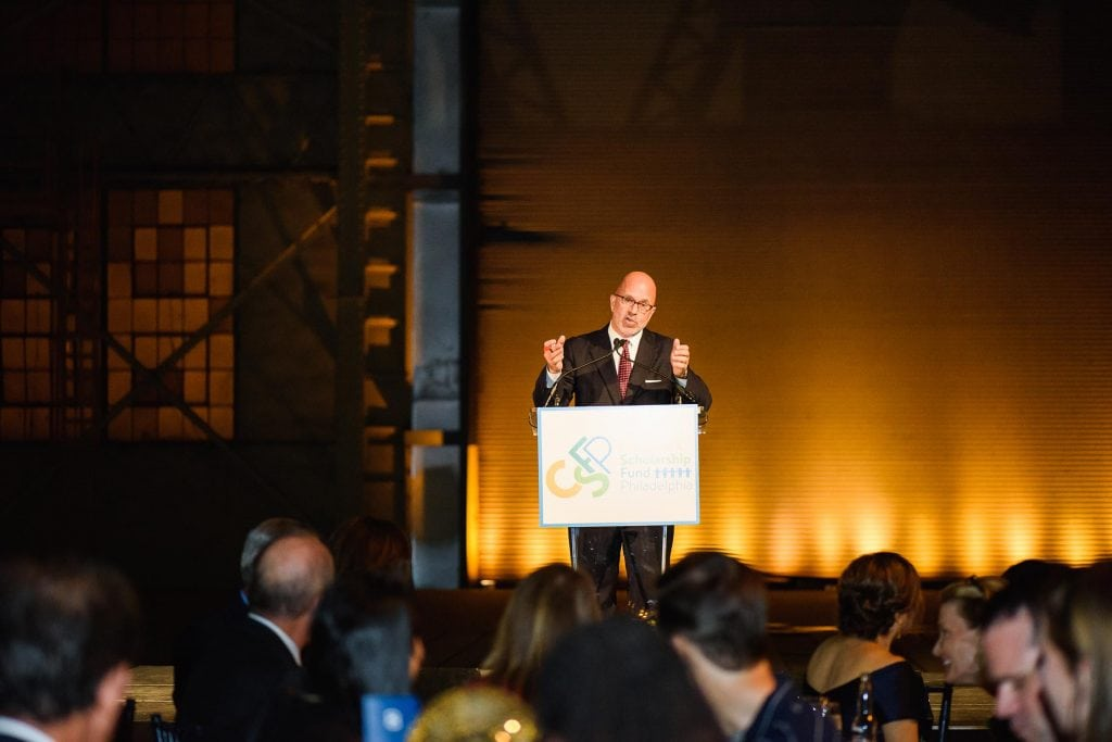 Michael serving as master of ceremonies at Children's Scholarship Fund Philadelphia's 15-year anniversary; Philadelphia, PA (October 2017)