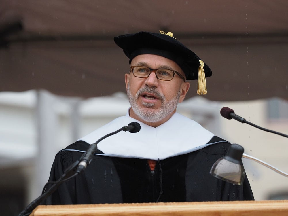 Michael delivers the commencement address at Widener University; Chester, PA (May 2016)