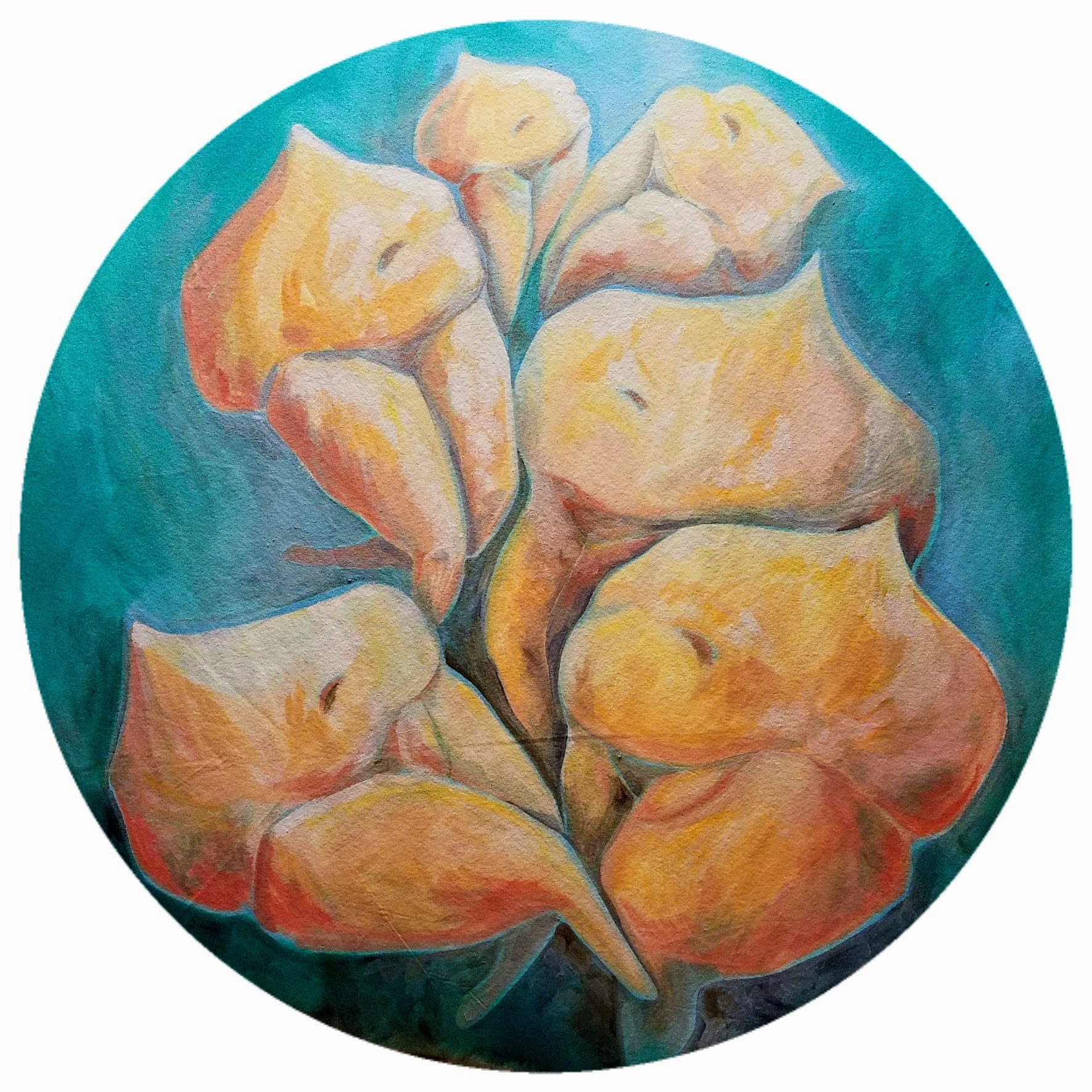"""Peach Pits"" Oil on canvas, mixed media, 42"" diameter - Currently for sale at Prove Collective, Duluth, MN"