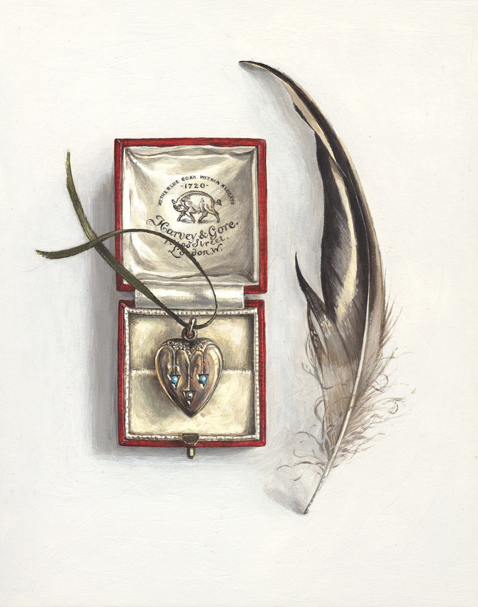 feather with jewellery box