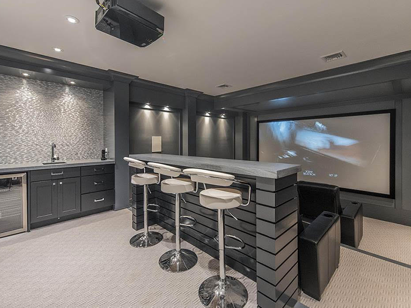 Custom Designed Movie Theater and Bar Table, Sink, and Fridge