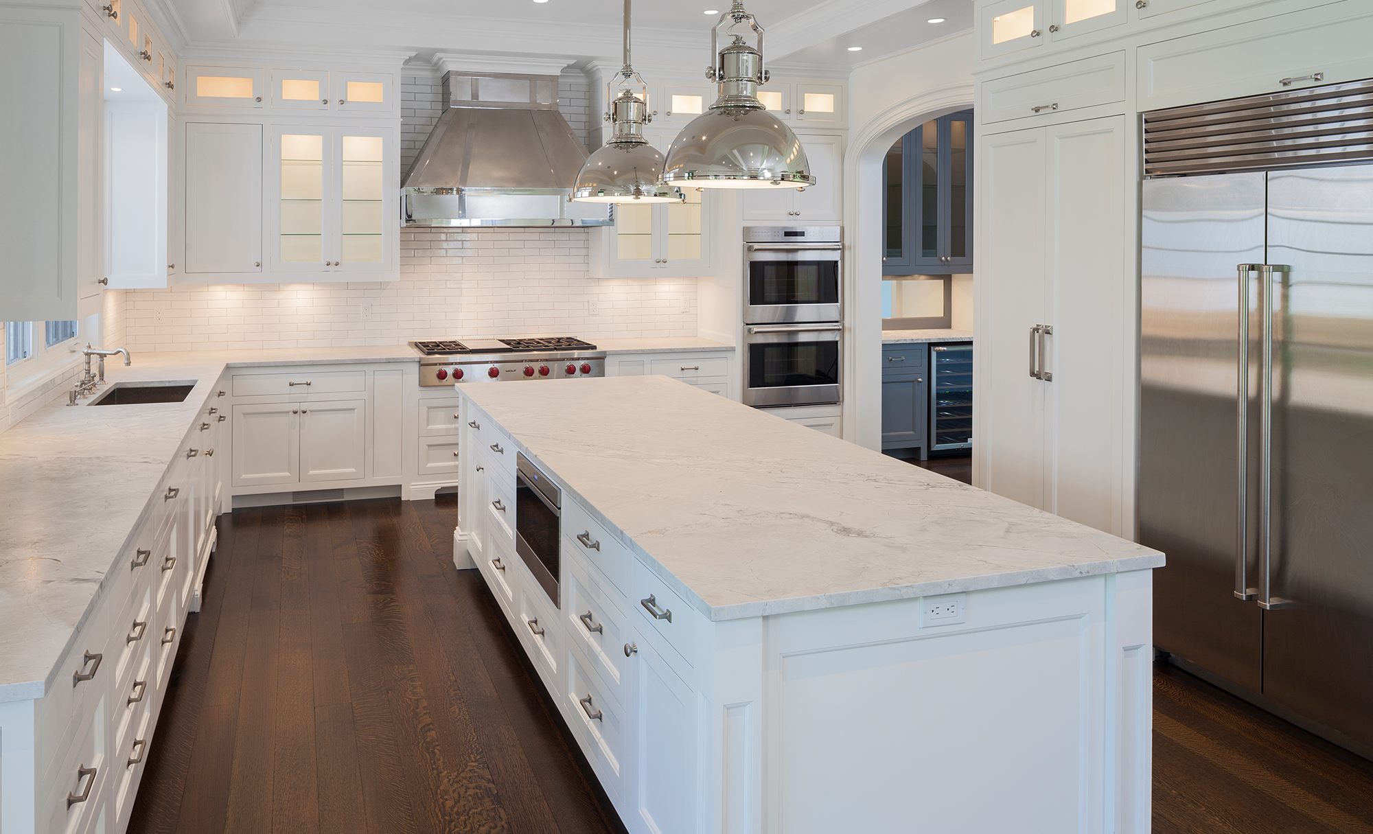 Large White Marble Kitchen Island