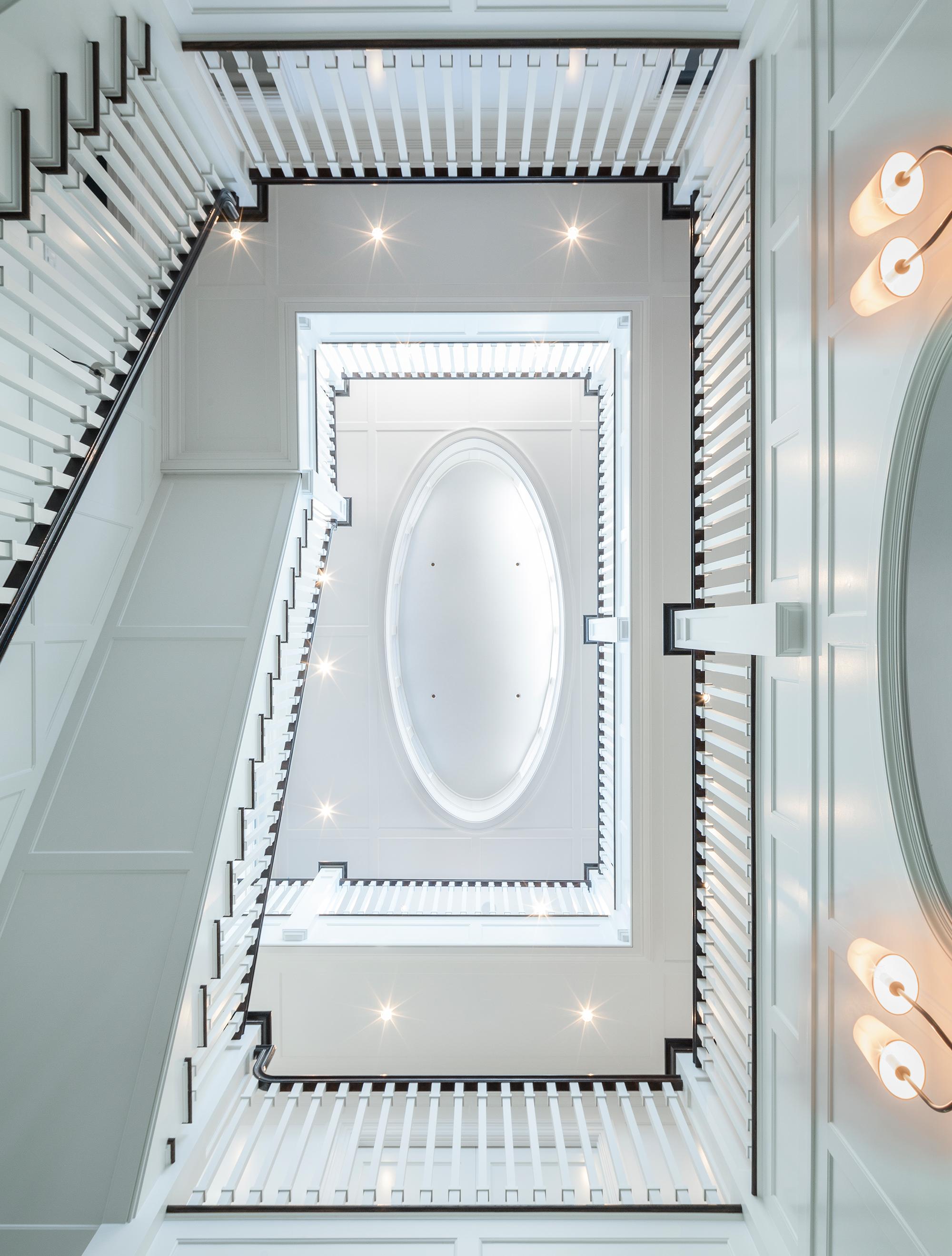 Two Floor Stairway Looking Up