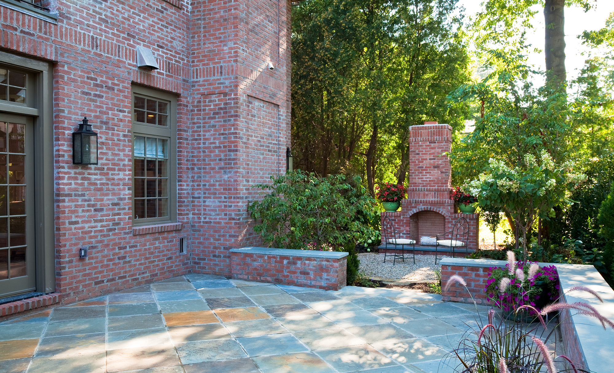 Patio with a Brick Fire Place