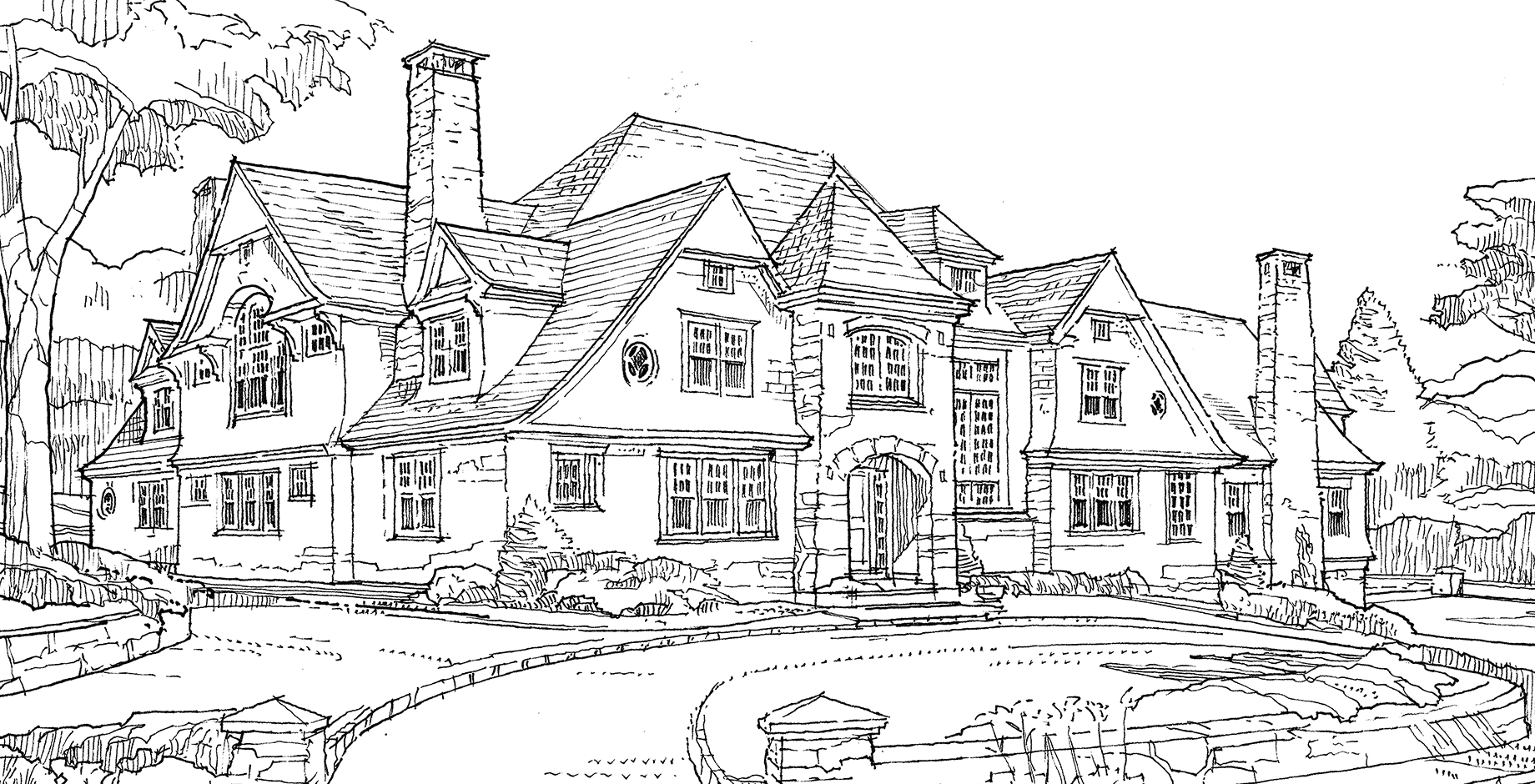 Large Modern Home Sketch