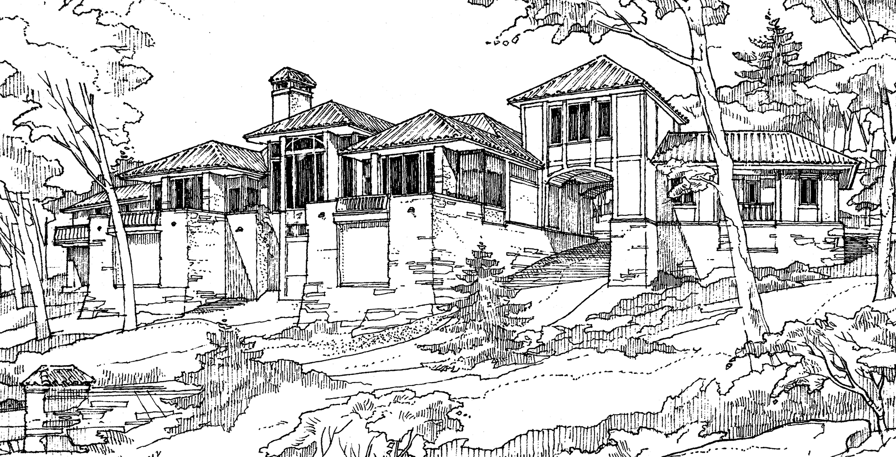 Large Home Design Architectural Sketch