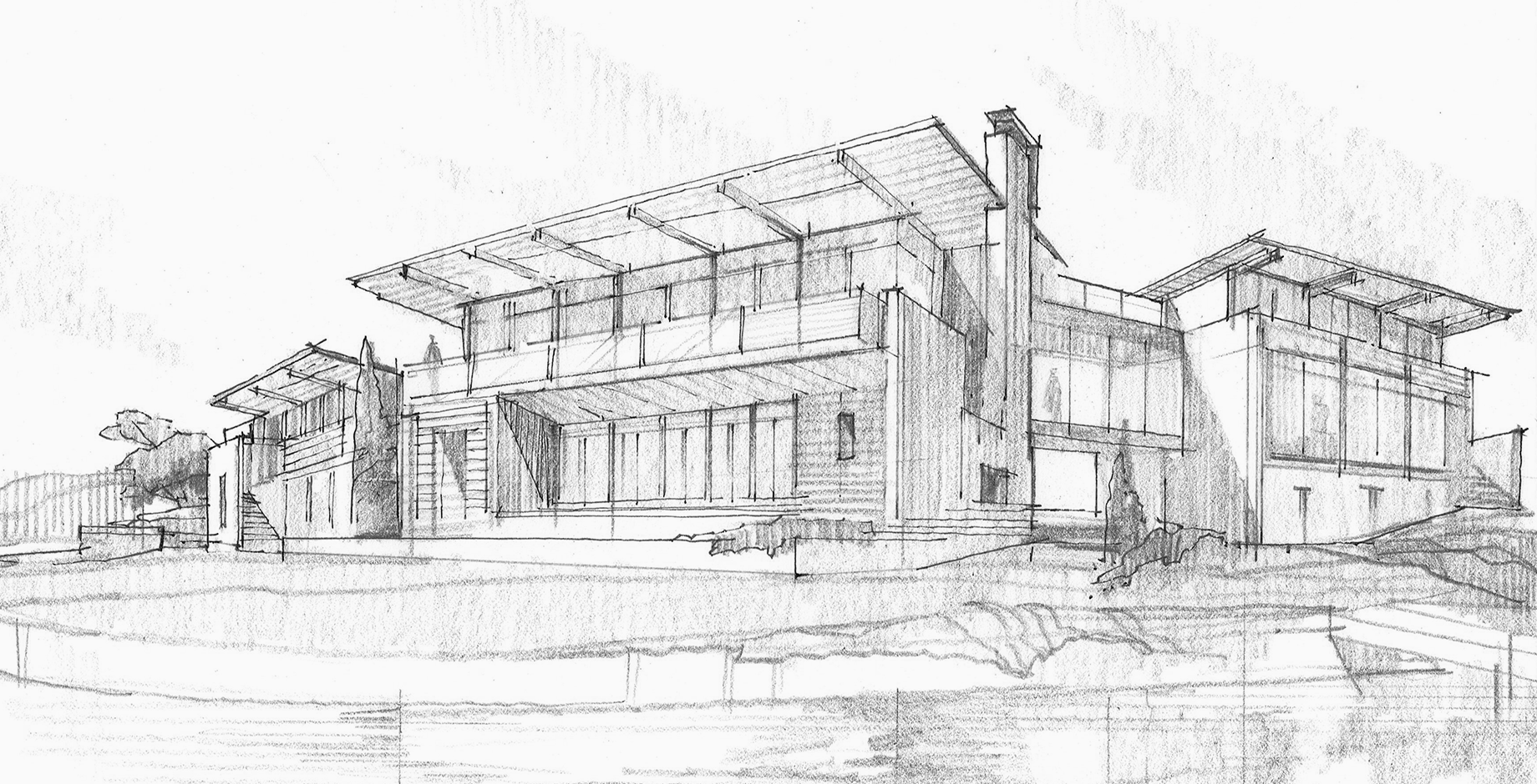 Modern Home Architectural Sketch