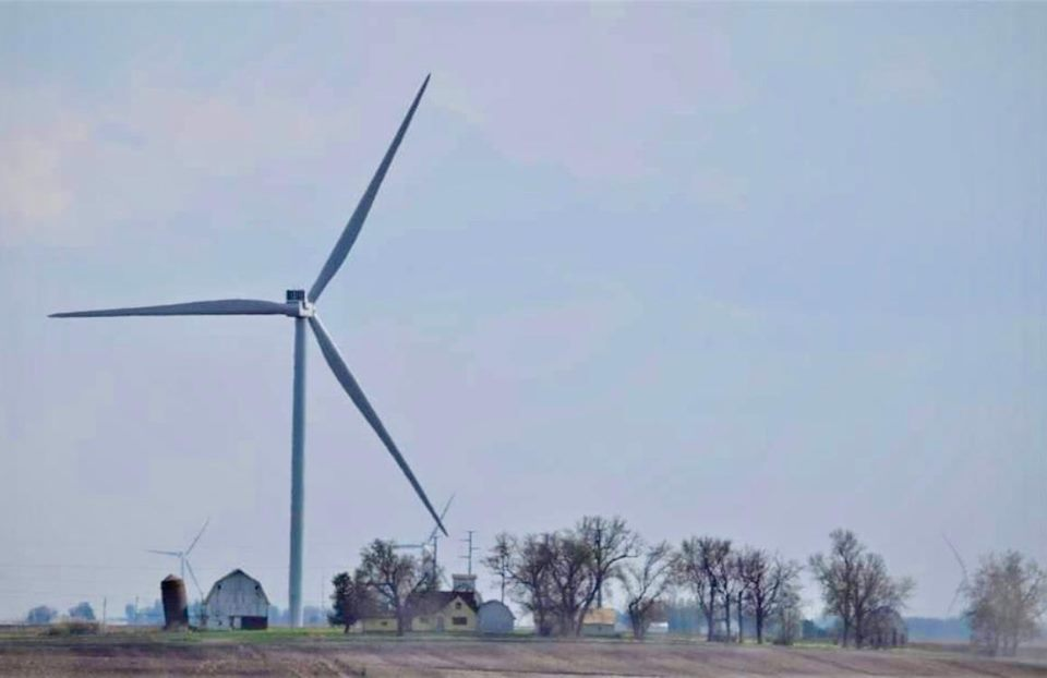 (photo of a 490' turbine)  Indiana counties continue to push back against wind companies who propose unsafe setback distances. (Click to read the post)