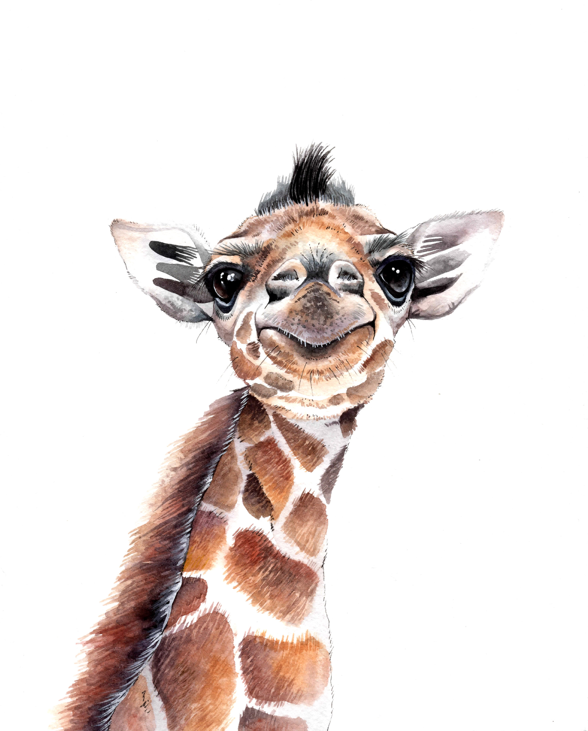 Baby Giraffe Nursery Wall Art By