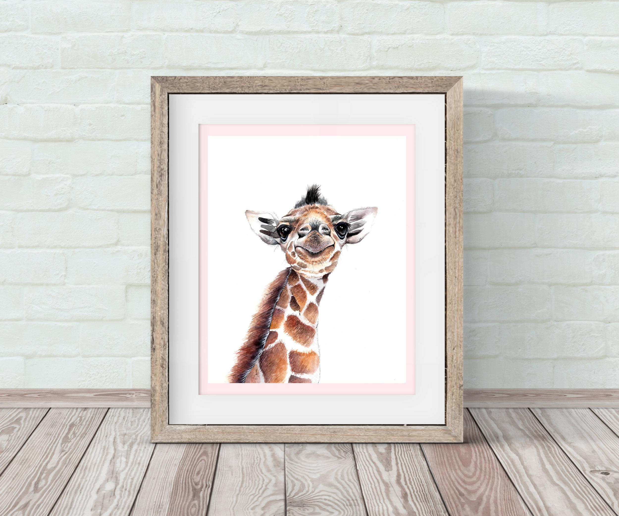 Baby Giraffe Nursery Wall Art By
