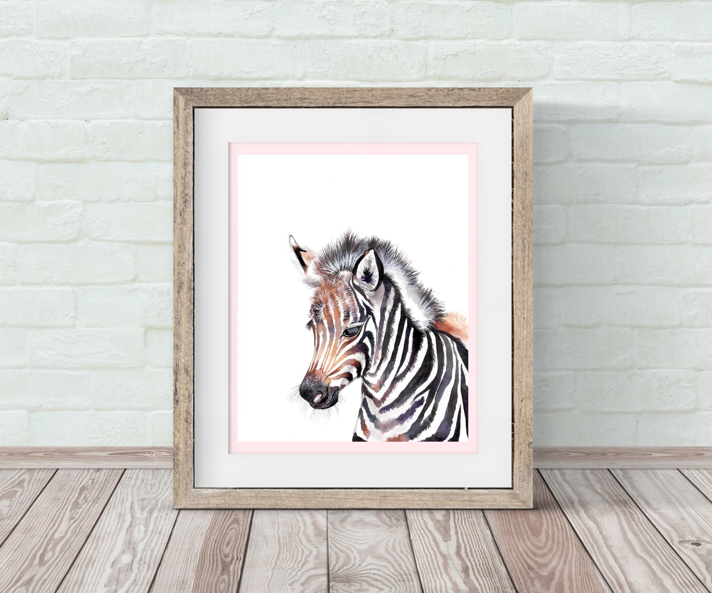 Baby Zebra Nursery Wall Art By