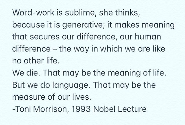 So saddened to hear of Toni Morrison's death. Her writing brought us closer to our humanity—to our trembling, light-and-shadow souls. Morrison didn't just *do* language: she unleashed it and let it fly. Rest in power, great bard. How the culture needs you, but now we let you go.