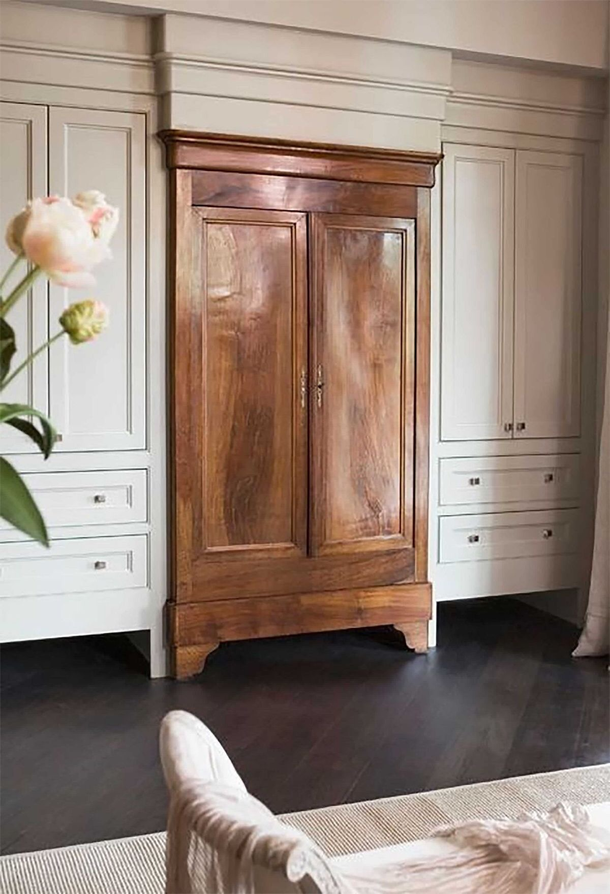 Beautiful old armoire incorporated in a new build custom cabinets,so chic and fresh!