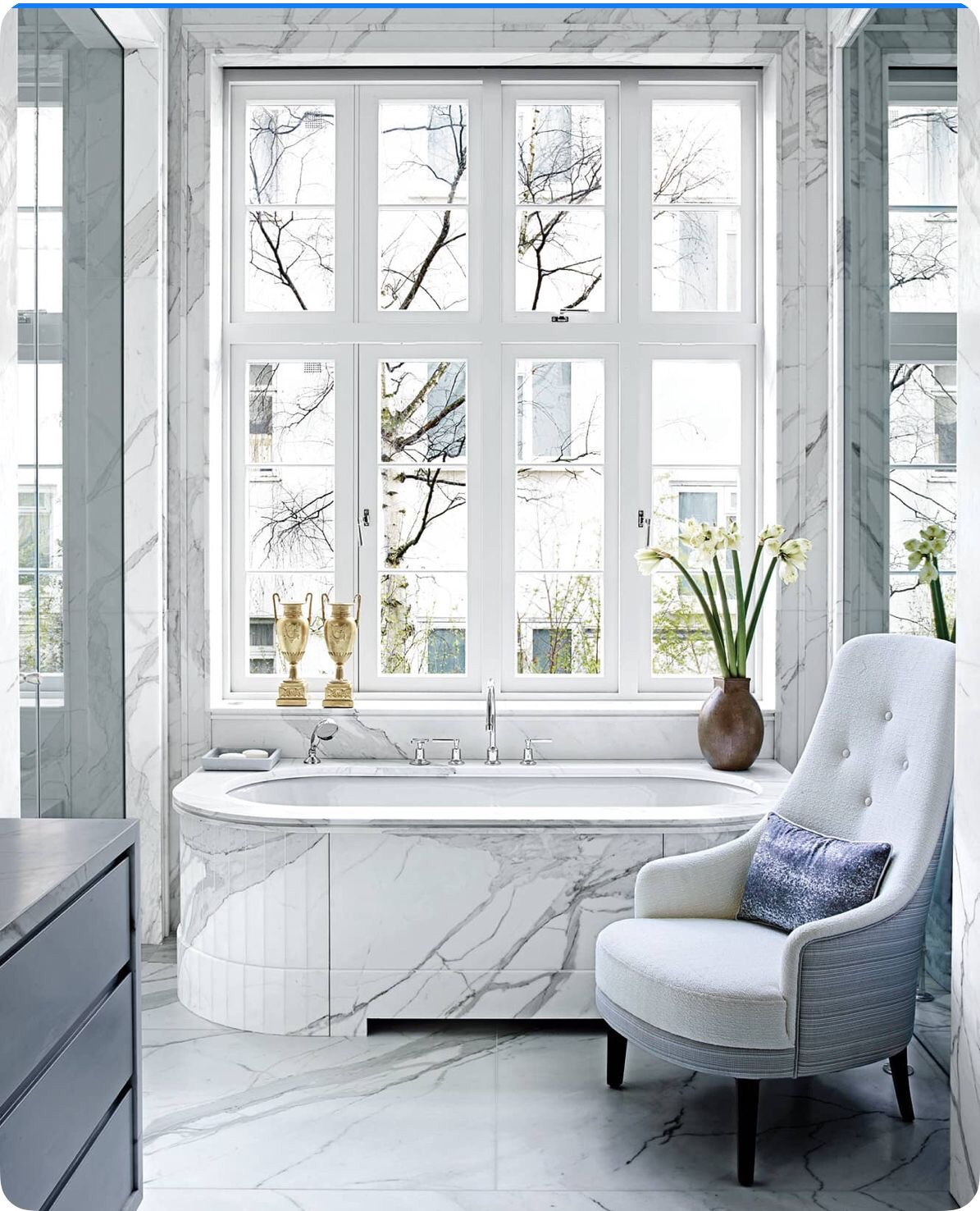 Master bathroom swathed in marble