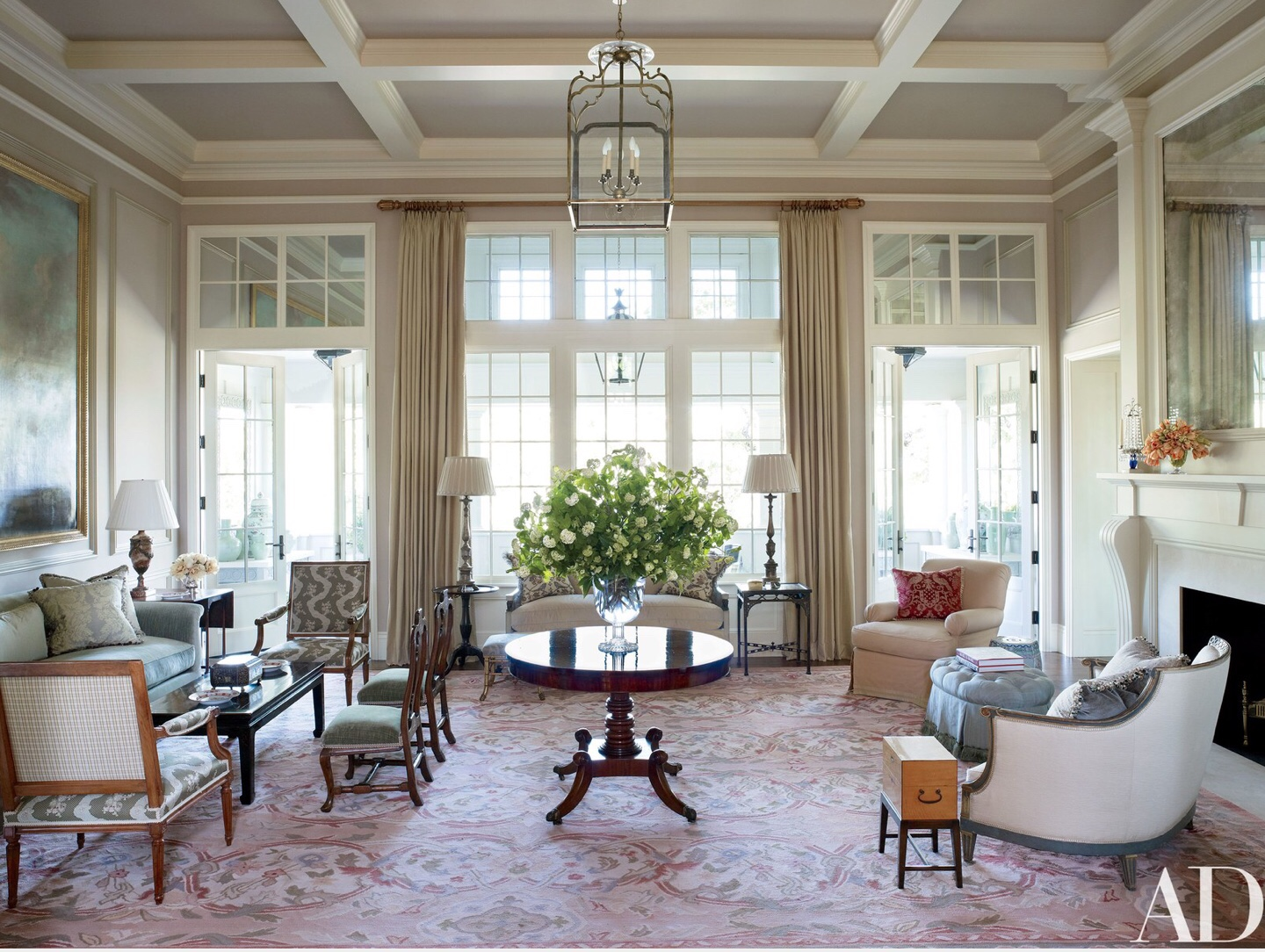 Living room designed by Suzanne Rheinstein incorporating Regency style furnishings, as seen in Architectural Digest ,April 2017  Photo by Francesco Lagnese