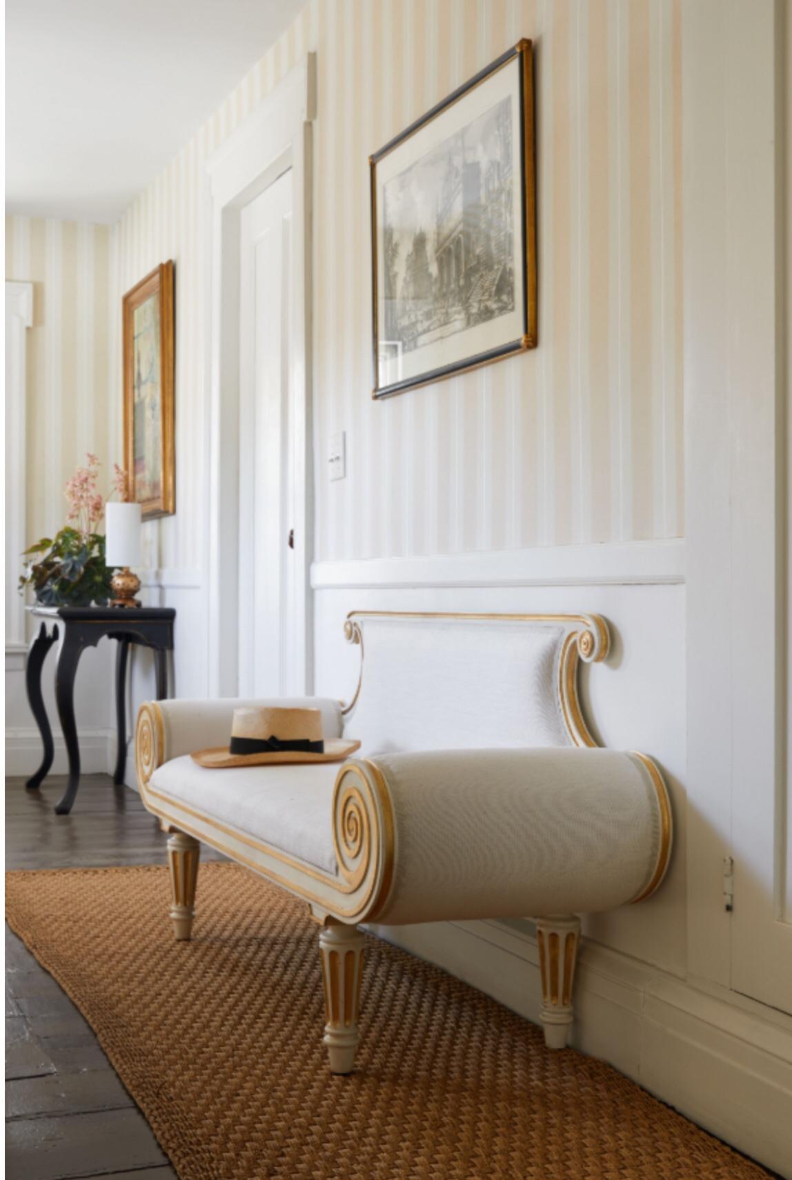 Beautiful settee designed by Bunny Williams, inspired by Regency era